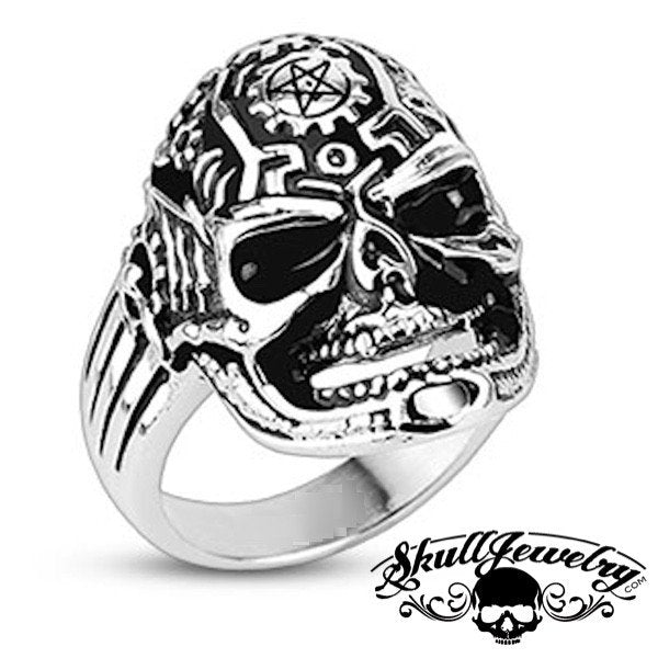 Pentagram Death Skull Ring