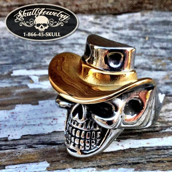 496 - 'Carry On' Gold Cowboy Hat Skull Ring
