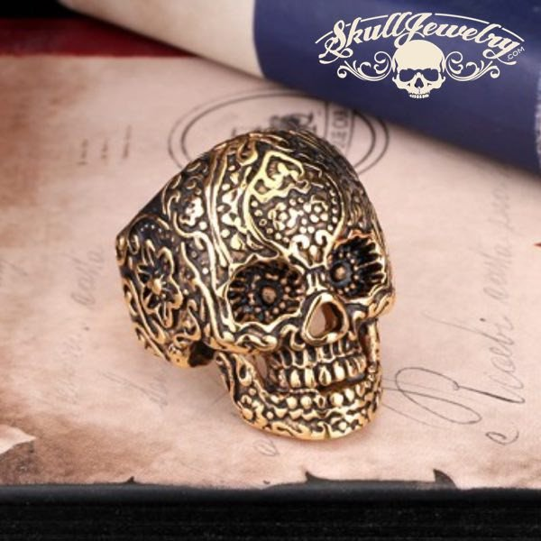 GOLD 'All Saints Day' Vintage Flower Skull Ring