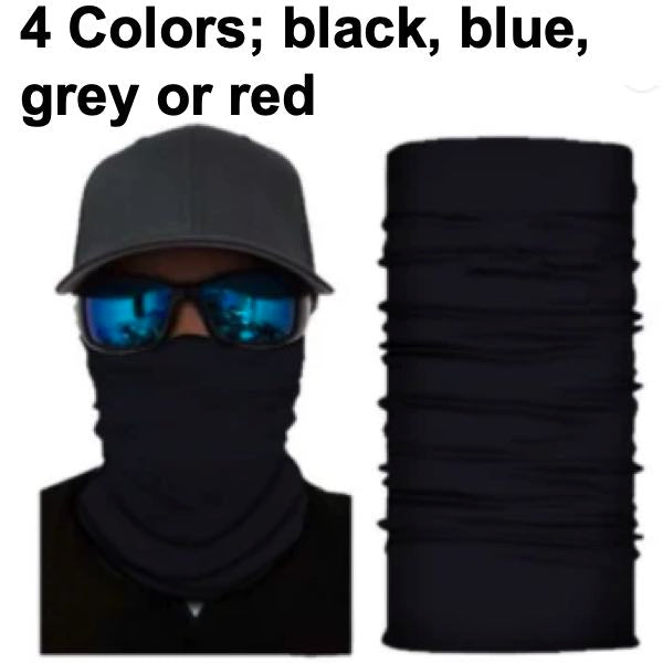 Face Mask - 4 Colors; Black, Red, blue or Grey