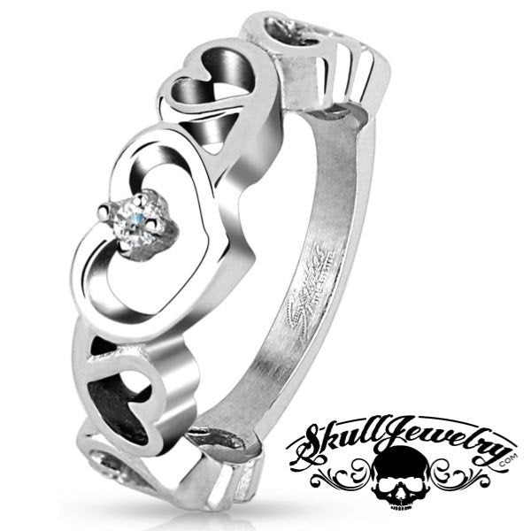 Seven Hollow Hearts Stainless Steel Ring w/Cubic Zirconia