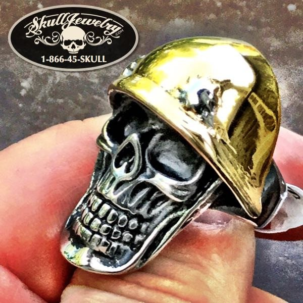 The 'Destroyer' Golden Helmet w/Bullet Holes Skull Ring (507)