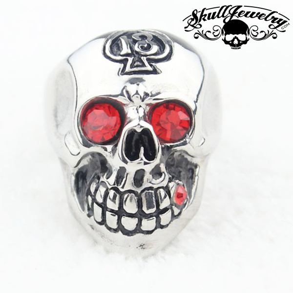 'Hot Blooded ' Lucky 13 Skull Ring w/Red Eyes