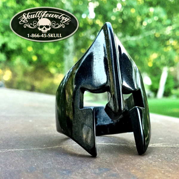 Black 'Spartan Mask' Stainless Steel Ring