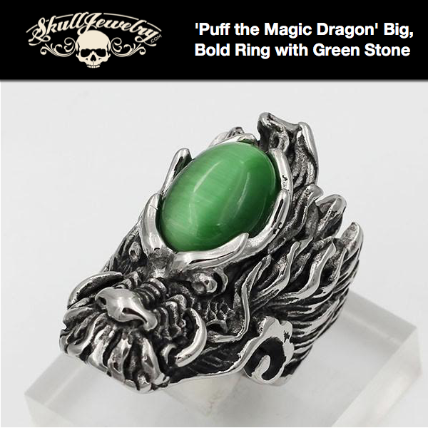 'Puff the Magic Dragon' Big, Bold Ring with Green Stone