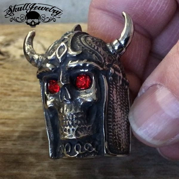 'Celtic Warrior' w/Red Eyes, Horned Helmet and Chainmaille Ring
