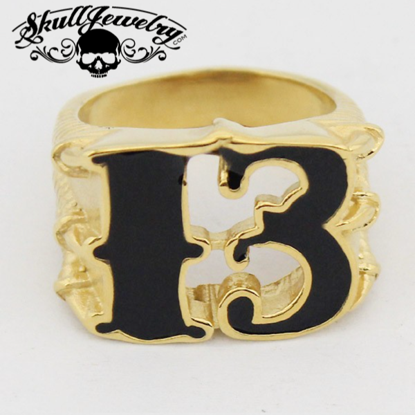 Lucky 13 Dragon Claw Stainless Steel & Gold Biker Ring