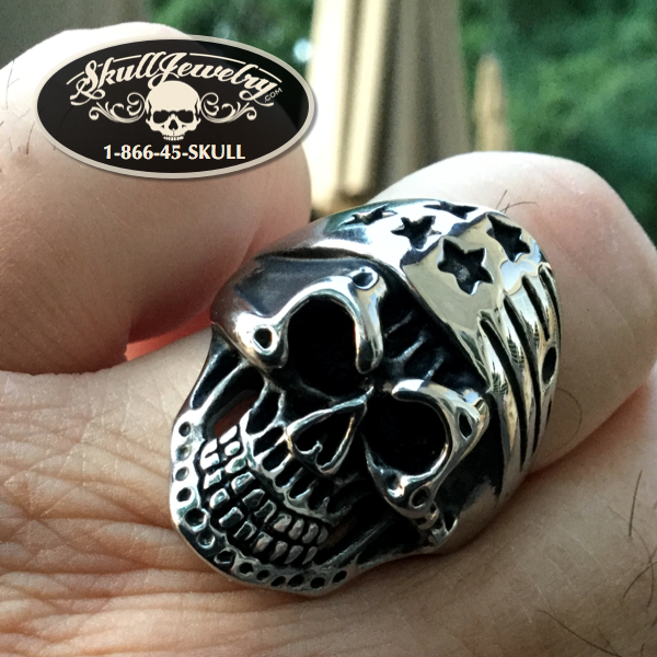 'American Exceptionalism' Stars & Stripes Skull Ring