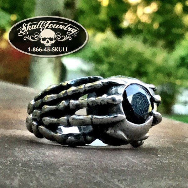 'Black Water' Claw & Skull Black Gemstone Ring