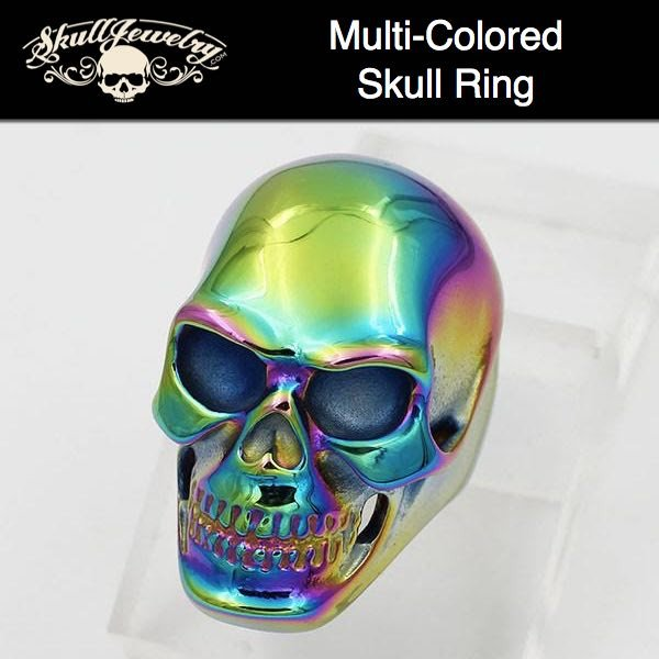 Big, Bold & Heavy MULTI-COLOR Steel Skull Ring
