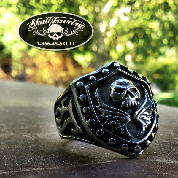 'I'm Your Shield' Skull and Wings Stainless Steel Ring
