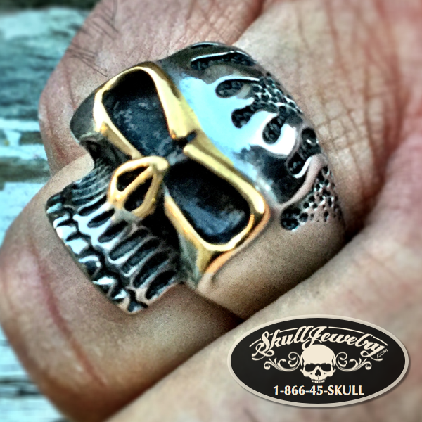 'Ziggy Stardust' Stainless & Gold Tone Skull Ring