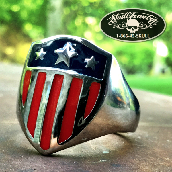 'American Hero' Shield Stainless Steel Ring