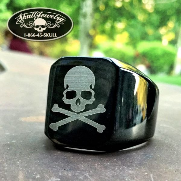 Secret Society Black Skull & Bones Skull Ring