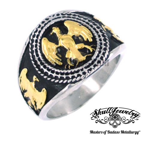 gold masonic ring with eagles