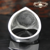 Diamond Shaped 13 Ring With Two Skulls on Sides Stainless Steel Ring (575)