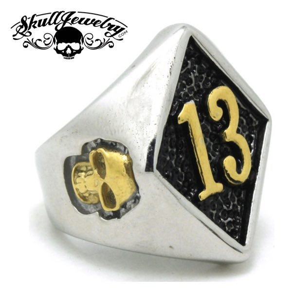 gold tone lucky #13 skull ring