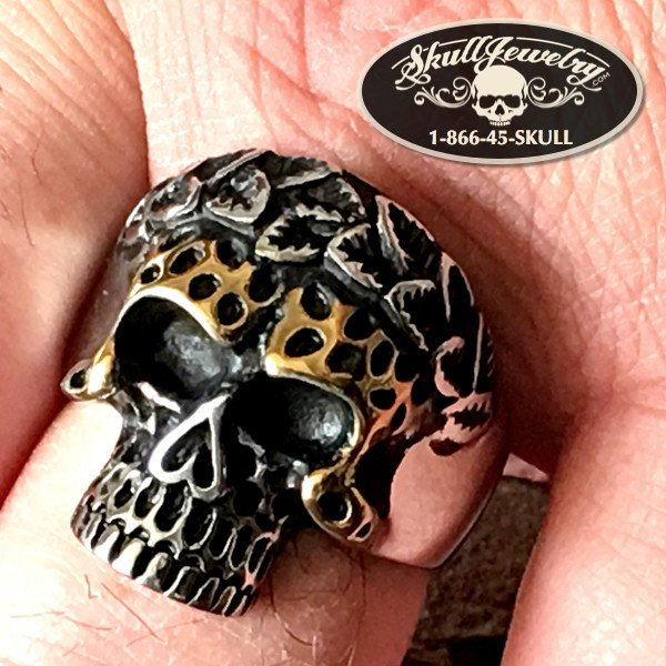 gold eyebrows skull ring
