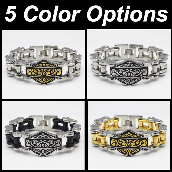 5 color options for shield bracelet