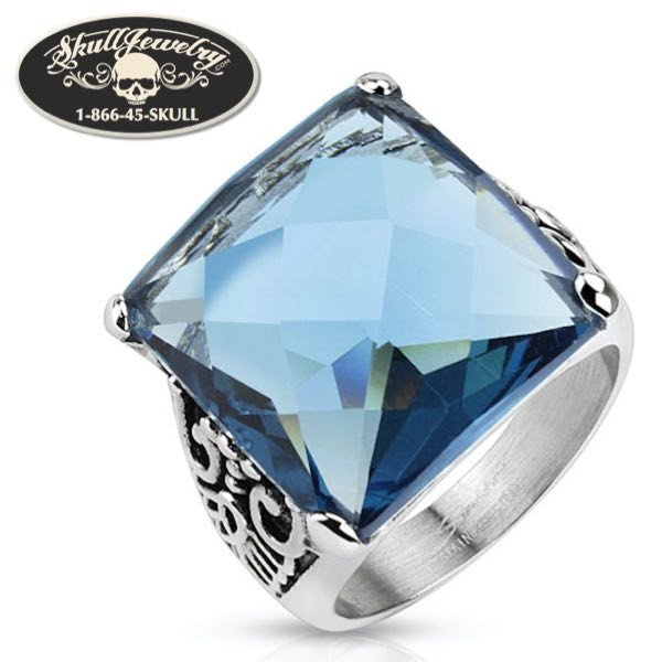 'Deacon Blues' Stainless Steel Ring with Ocean Blue Square Cut Cubic Zirconia