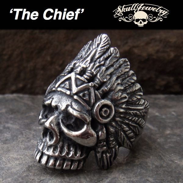 'The Chief' Big, Bold and Heavy Indian Skull Ring