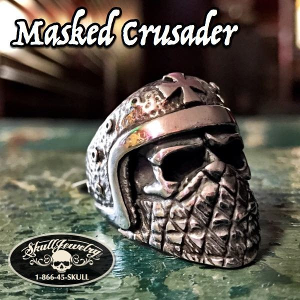 masked crusader ring with cross