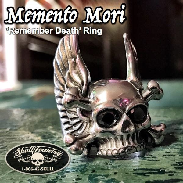 Memento Mori Winged Skull Ring