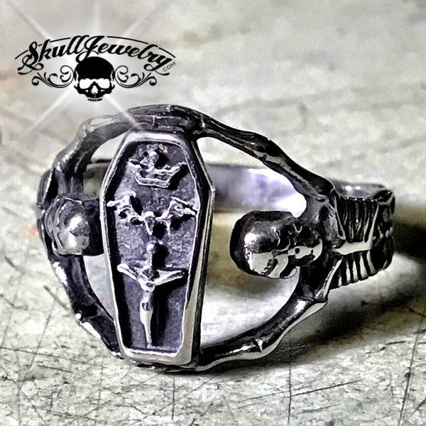 'Hold Strong' Coffin & Skeleton Ring