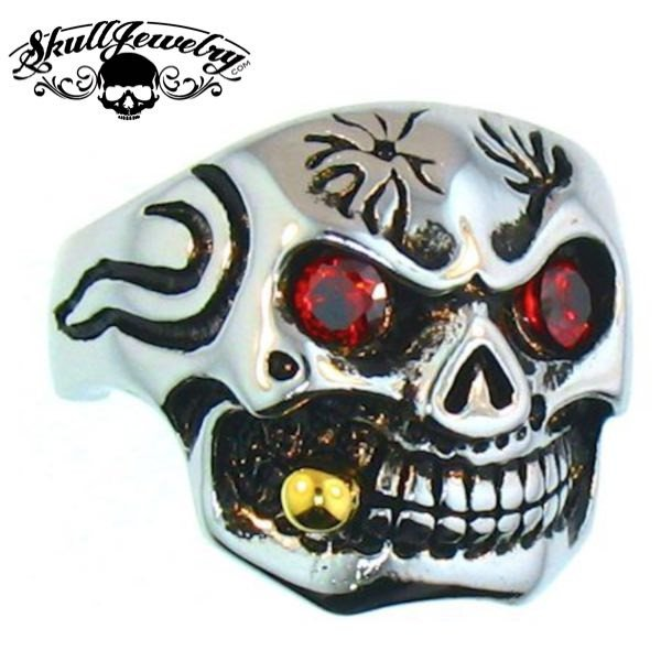 Lunatic Fringe' Skull Ring With A Gold Cigar In Mouth & Red Cubic Zirconia Eyes