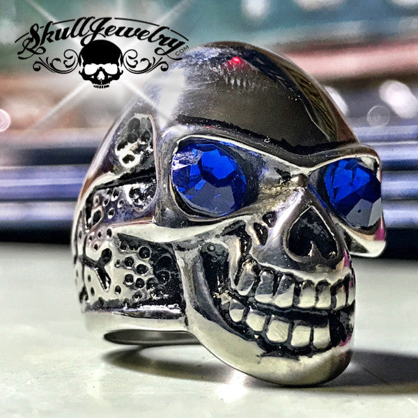 'Cranio Blu' Blue Crystal Eyes Skull Ring