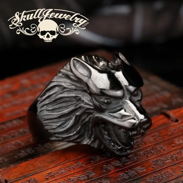 Born to be Wild' Black Wolf Stainless Steel Ring