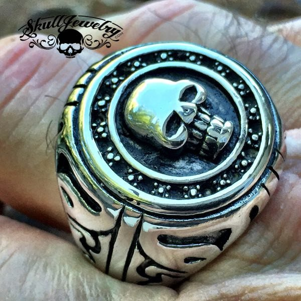 'Beast Of Burden' Big, Bold & Heavy Round Skull Ring - Rolling Stones
