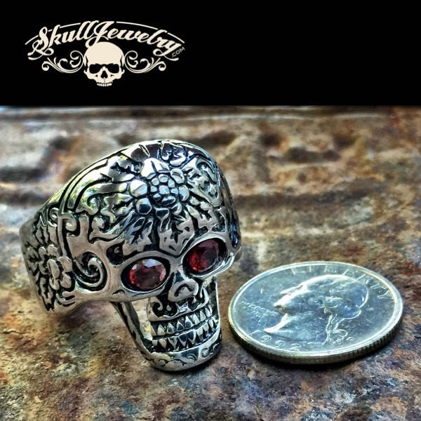 'These Eyes' Big, Bold & Heavy Skull Ring with Red Eyes