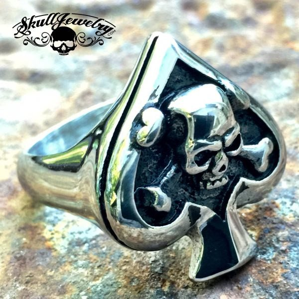 'Death of Spades' Big & Bold Spade Ring With Skull & Crossbones