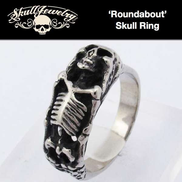 'Roundabout' Stainless Steel Skull Ring