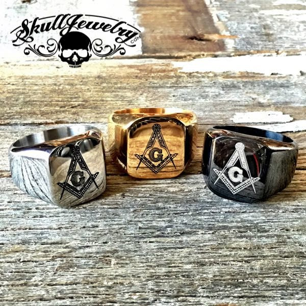 Masonic Ring - Stainless, Gold or Black Color