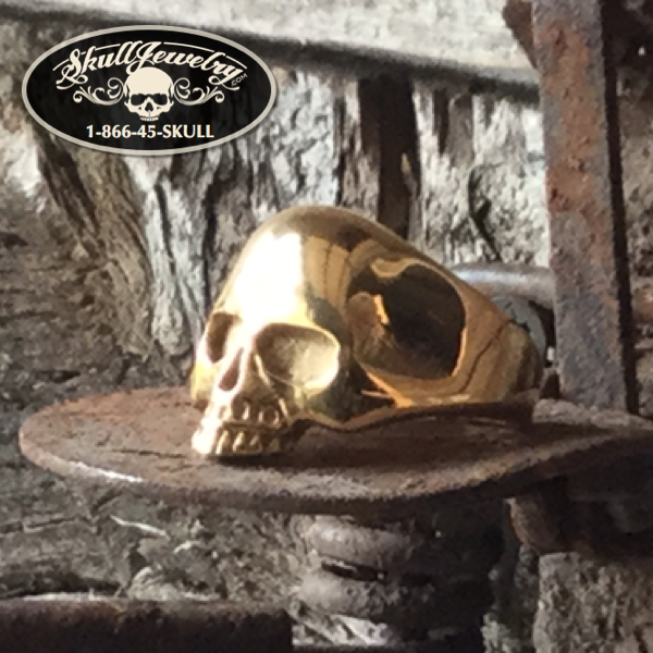 gold oldschool skull ring