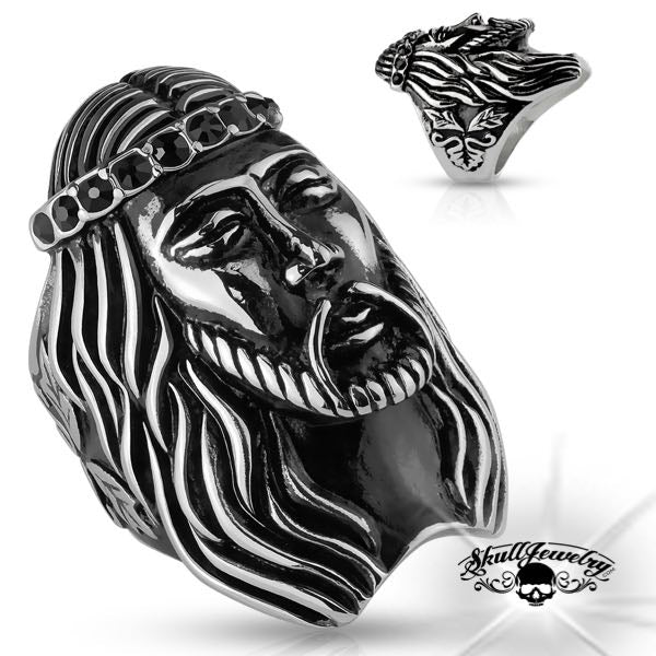 Jesus Ring with black stones on forehead