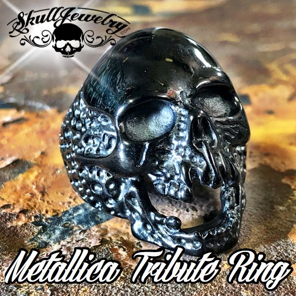 736black 'The Plague' Skull Ring Metallica 'Cliff Burton' Tribute Ring
