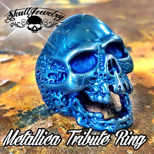 736blue 'The Plague' Skull Ring Metallica 'Cliff Burton' Tribute Ring