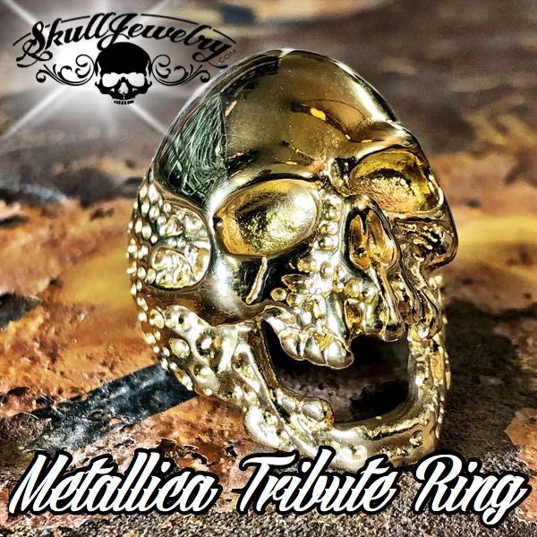 736gold 'The Plague' Skull Ring Metallica 'Cliff Burton' Tribute Ring