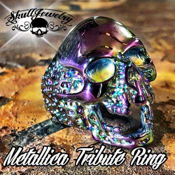 736psychedelic 'The Plague' Skull Ring Metallica 'Cliff Burton' Tribute Ring