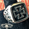 celtic cross ring with flames