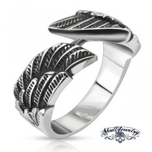 Angel Wing Stainless Steel Ring - anillo de alas de ángel