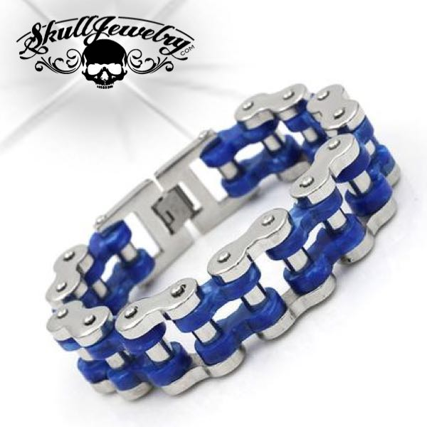 'Blue Thunder' Big, Bold, Wide & Heavy Motorcycle Chain Bracelet