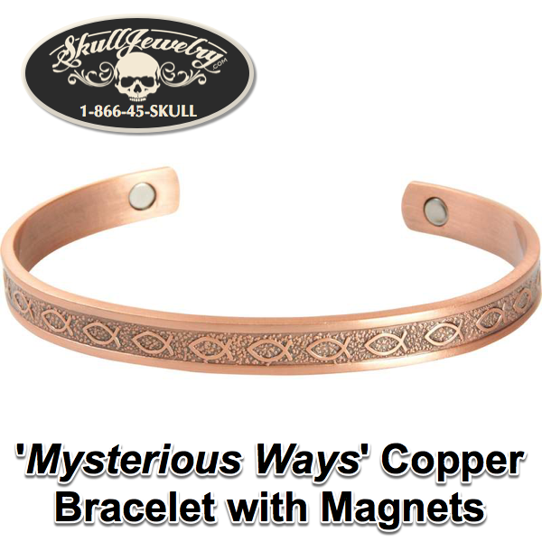 'Mysterious Ways' Copper Bracelet with Magnets