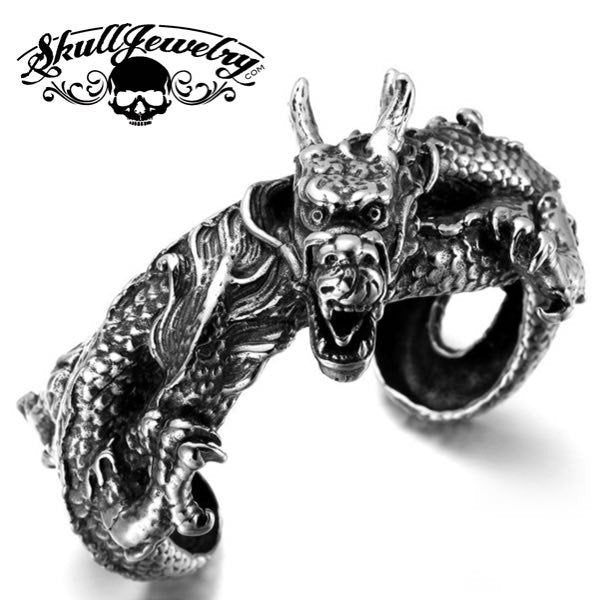 'Vintage Dragon' Big, Bold & Heavy Bangle Bracelet