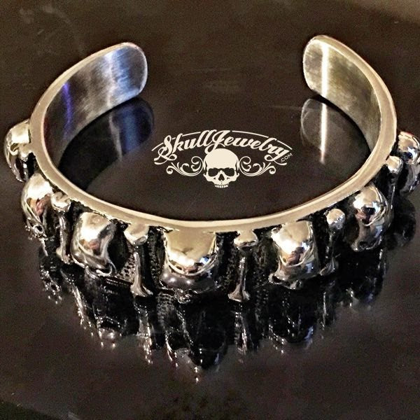'Come Together' Multi-Skull & Bones Bangle Bracelet