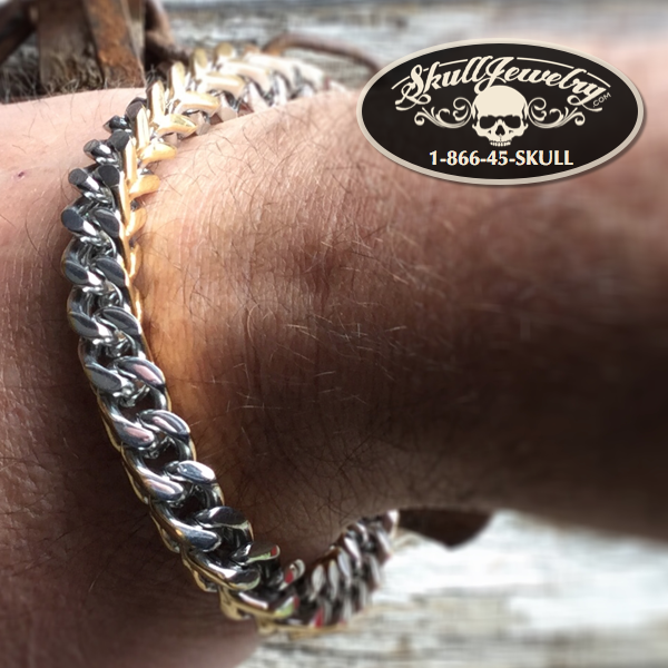 2-Tone Gold/Stainless Steel Box Weave Bracelet