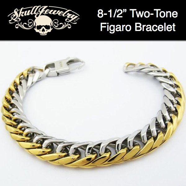 'After The Gold Rush' 2-Tone Gold/Stainless Steel Figaro Bracelet
